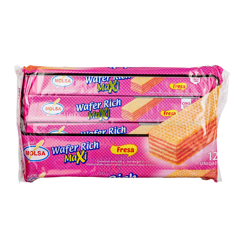 GALLETA WAFER RICH MAXI FRESA 12 UN. 600 GR