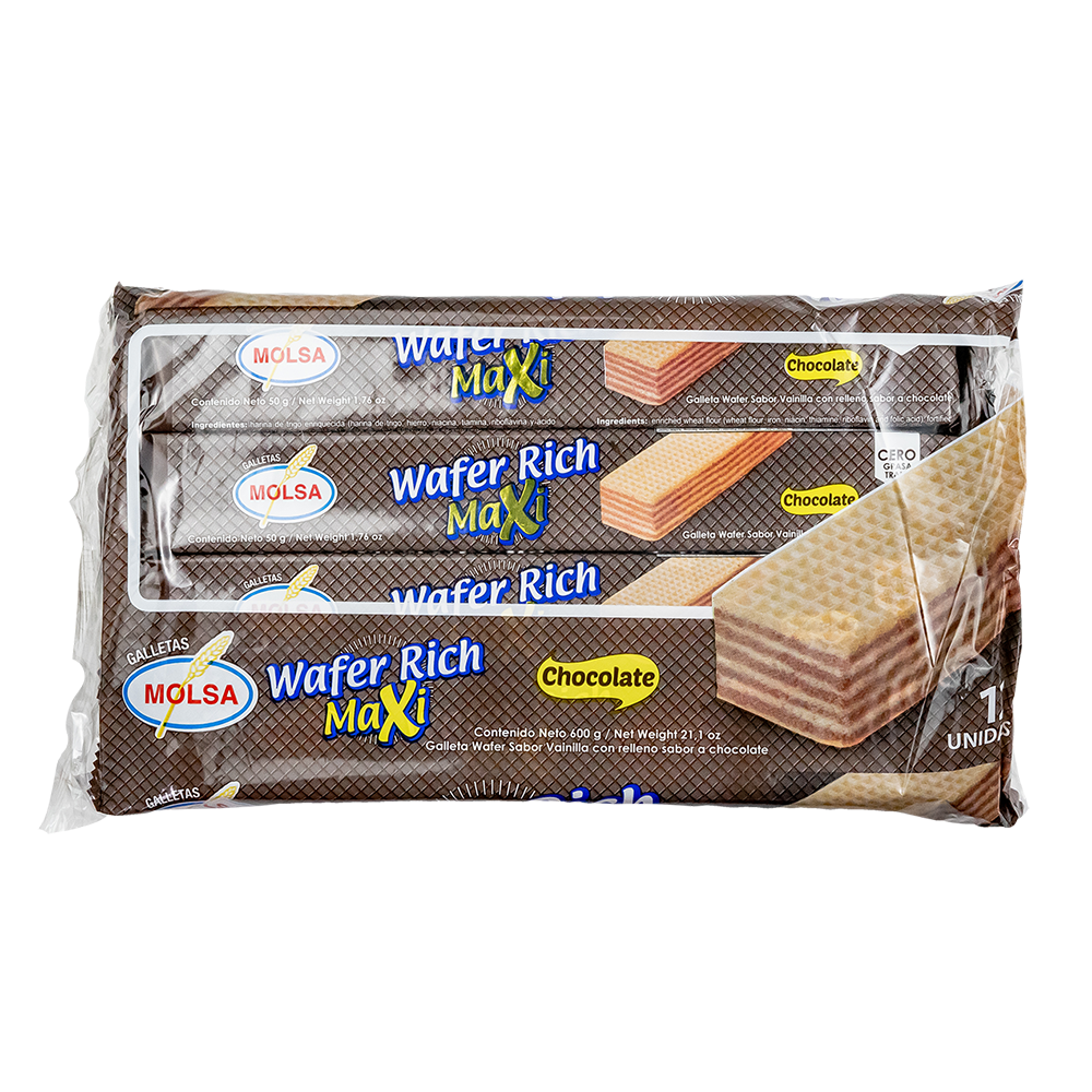 GALLETA WAFER RICH MAXI CHOCOLATE 12 UN. 600 GR