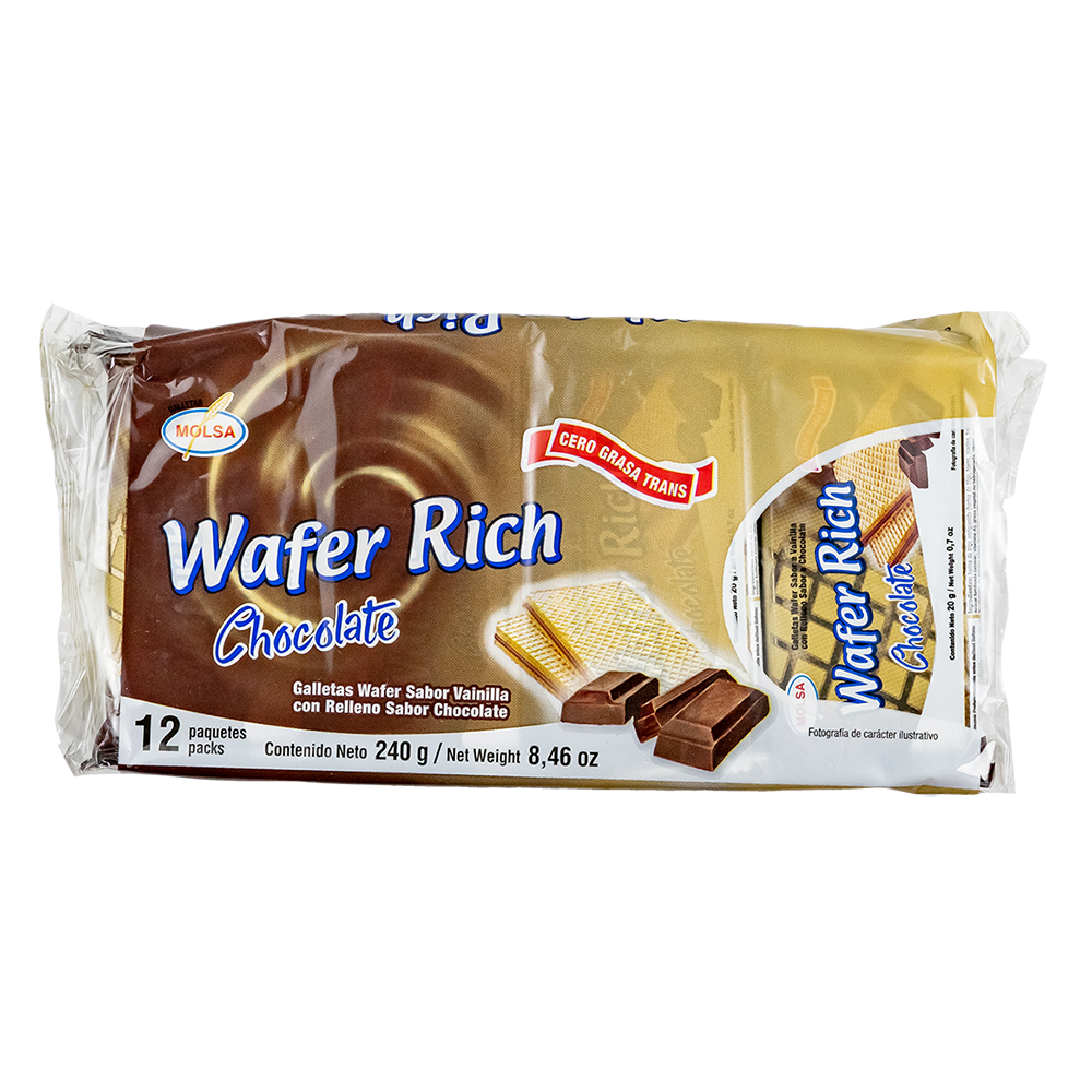 GALLETA WAFER RICH  CHOCOLATE  12 UN. 20 GR