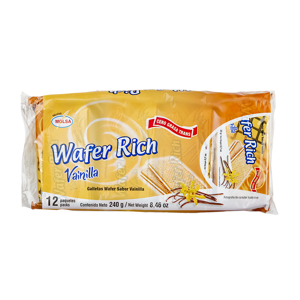 GALLETA WAFER RICH  VAINILLA  12 UN. 20 GR